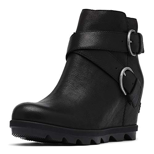 Sorel - Women's Joan of Arctic Wedge II Buckle Ankle Boot, Black, 8 M US
