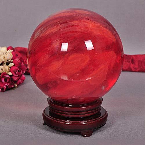 KKJJ Feng Shui Bola de Cristal Decorativa Redonda, Bola de Cristal de Piedra Roja de Cuarzo Natural Esfera Decorativa, para Bolas Decorativas, Adivinación de Mirar y Bola de la Fortuna,Rojo