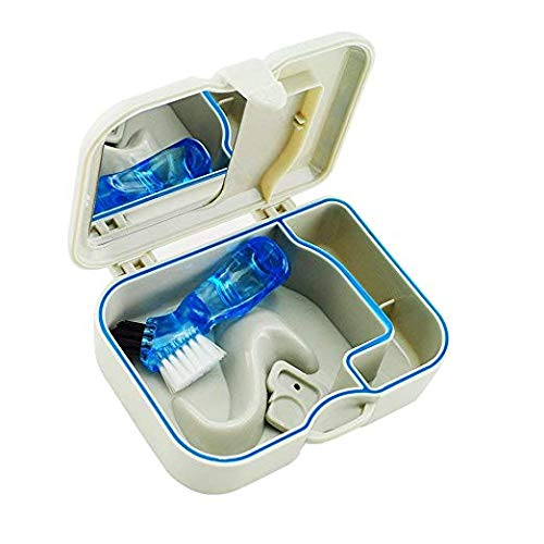 Compact Denture Travel Case Genuine Free Shipping with Handy Brush Fal Mirror OFFicial mail order Clean