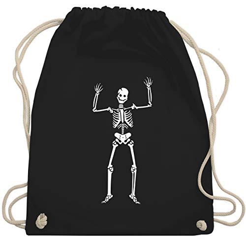 Shirtracer Halloween - Skelett Skeleton - Unisize - Schwarz - skelett kostüm damen - WM110 - Turnbeutel und Stoffbeutel aus Baumwolle