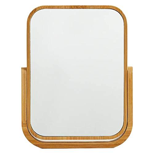 Tocador Espejo Marco de Madera Maciza Tratamiento de Superficie Antiguo Juego de tocador Dormitorio Baño Decorativo Encimera Espejo de pie Ángulo Ajustable (Marrón)