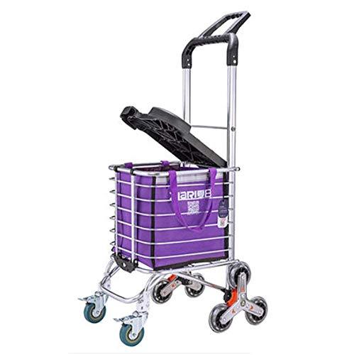 TYP Mall Carro De La Compra De Gran Capacidad con Ruedas Plegable con Bolsa Impermeable Extraíble Y Resistente, De 8 Ruedas con Marco De Aleación De Aluminio,Purple a