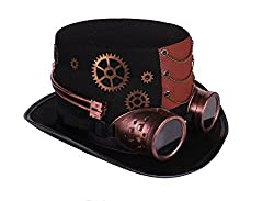 Steampunk Top Hat Deluxe Brown Velvet with Removable Goggles Gears Feather