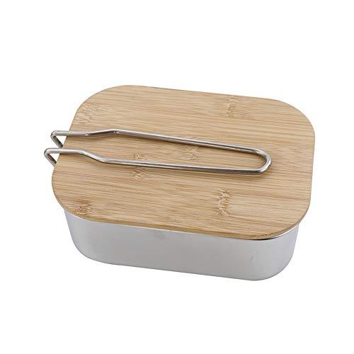 Bento Box Lunch Box Acero Inoxidable con El Envase De Alimento Bambú Tapa para El Recorrido De La Comida Campestre Que Acampa Suministros De Plata