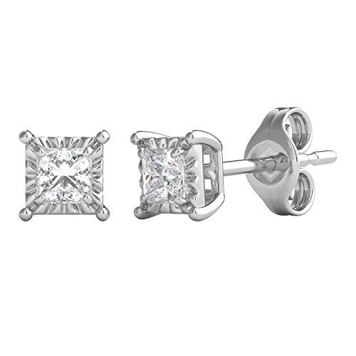 Helzberg Diamonds Sterling Silver 1/4 cttw Square Princess-Cut Diamond (I-J Color, I3 Clarity) Illusion Stud Earrings