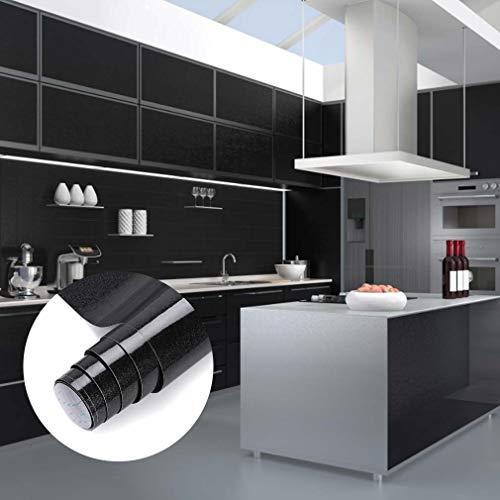 Möbelfolie Schwarz Klebefolie Plotterfolie 0.61 * 5m glänzende mit Glitzer Selbstklebende Folie Küchenschränke Aufkleber auf PVC Ihr Möbel zu renovieren Dekofolie