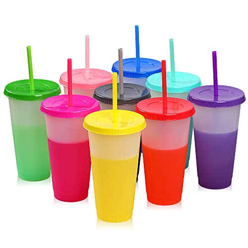 CHAINPLUS Color Changing Cups Tumblers - 9 Reusable 16oz Cups Plastic Cold Cups with Lids and Straws for Adults Kids