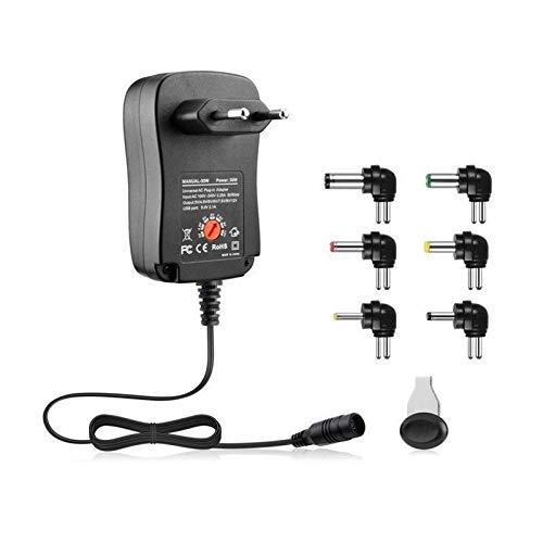 Ymxcwer85851 3-12V 30W 2.1A Adaptador de Fuente de alimentación AC/DC Adaptador de Cargador Universal con 6 enchufes Adaptador de Corriente regulado por Voltaje Ajustable (Negro) Enchufe Europeo