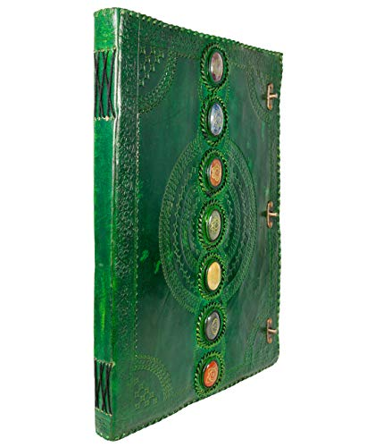 Diario de cuero de piedra real de siete chakras, piedra medieval, grabado a mano, libro de sombras, cuaderno de oficina, diario, libro de poesía, libro de bocetos grimoire (verde, 35,5 x 55,9 cm)
