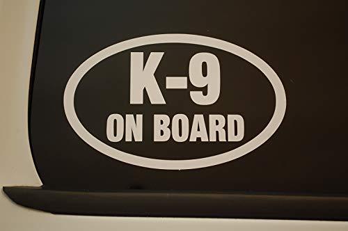Five Star Graphics K-9 On Board Oval K9 Sticker Vinyl Decal CHOOSE COLOR & SIZE!! Service Dog Law Enforcement (V553) (5' X 3', White)