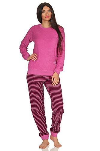 RELAX by Normann Damen Frottee Pyjama mit Bündchen, Hose gestreift, Top mit Sterne + Mond Stickerei, Farbe:pink, Größe2:36/38