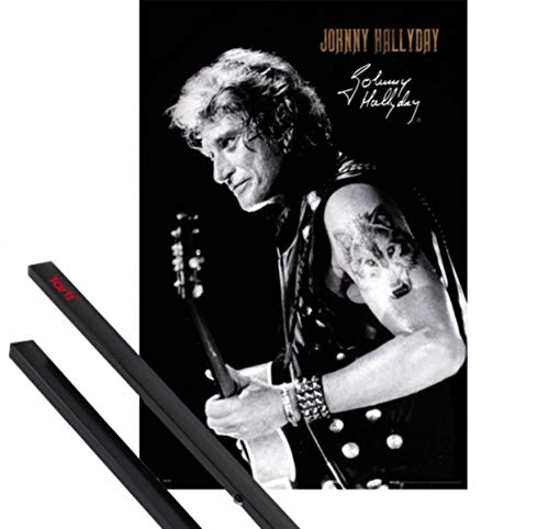 1art1 Johnny Hallyday Poster (91x61 cm) Signature Et Kit De Fixation Noir