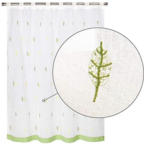 VISTE TU HOGAR Cortina Corta para Cocina de Visilo, Estilo Simple y Elegante 140 x 145cm, Arboles Verdes