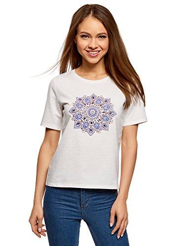 oodji Ultra Mujer Camiseta de Algodón con Estampado, Blanco, ES 38 / S