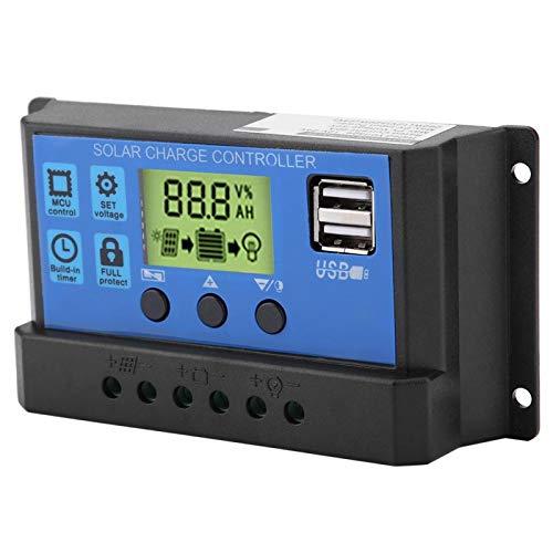 Controlador de Carga de Panel Solar USB Dual PWM 12V/24V y Regulador Inteligente de Batería de Panel Solar, con Pantalla LCD 10A/20A/30A(YJSS-20A)