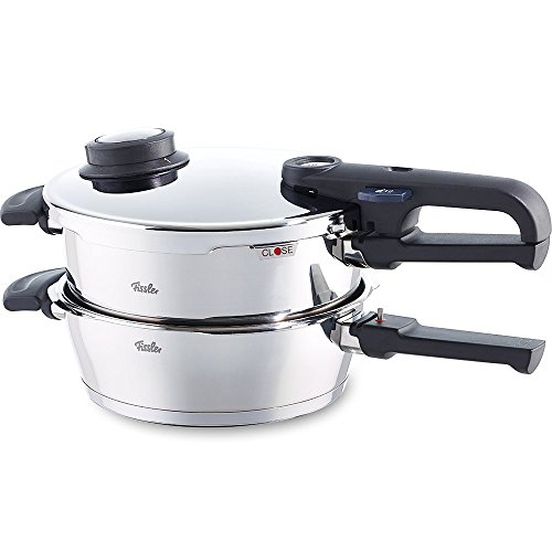 Fissler Pressure Cooker Set vitavit premium 2-Pieces: Pressure cooker 4.5 Litre and pressure skillet 2.5 L made of stainless steel - for all stove types - 620-301-11-070/0