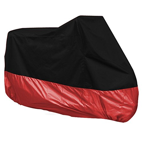 Beauneo Funda Protector de Polyester Cubierta para Moto XXXL Negro y Rojo