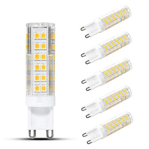 HiBay LED-Leuchtmittel, 7 W, G9, Kaltweiß, entspricht 60 W Halogenlampe, Energiesparlampe, 360 ° Abstrahlwinkel, AC 220-240 V, 6 Stück