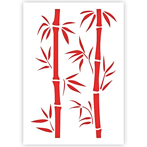 Qbix Bamboo Branches Stencil - A5 Size - Reusable Kids Friendly DIY Stencil for Painting, Baking, Crafts, Wall, Furniture
