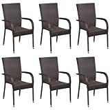 Stackable Outdoor Chairs of 6 pcs Poly Rattan Garden Chair Courtyard Decoration Brown 55,5 x 53,5 x 95 cm by <span class='highlight'><span class='highlight'>BIGTO</span></span>