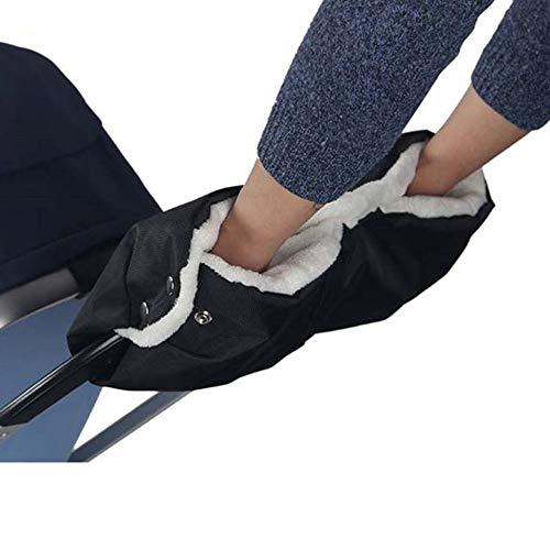 MIAOZHANG Kinderwagen Handwärmer Lenker Handschuhe, Nylon Plüsch Futter Handschuhe Universalgröße für Kinderwagen Buggy Radanhänger, Wasserfest und windfest (Schwarz)