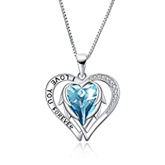 ♥ SPECIFICATION: ♥ Love heart pendant size: 0.84*0.99 inch (21.5*25 mm). Length of the rolo chain: 18 inch (45 cm). Width of the box chain: 0.8 mm ♥ MATERIAL: ♥ SGS certified product, hypoallergenic 925 sterling silver angel wing necklace for women w...