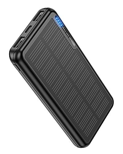 Power Bank Solar 20000 mAh, Batería Externa Solar con 2 salidas USB y entrada USB-C Micro USB, para camping, batería externa para iPhone, Samsung, Huawei, tabletas, Smartphones