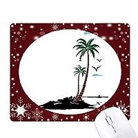 椰子の木の雲のカモメのビーチ オフィス用雪ゴムマウスパッド