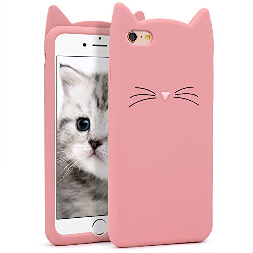 Yonocosta Cute iPhone 6 Plus Case Cat, iPhone 6S Plus Case, Cute 3D Cartoon Pink Whisker Cat Ears Kitty Kavaii Case, Animal Character Soft Silicone Slim Fit Bumper Case cover for girls kids lady women