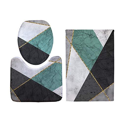 ETOPARS Europäisches geometrisches Metallic Strukturierter Badteppich-Set 5-teilige rutschfeste Badematten, Toilettendeckelabdeckung, U-förmiger Konturteppich Teppich- und Toilettensitzbezug, Typ 05