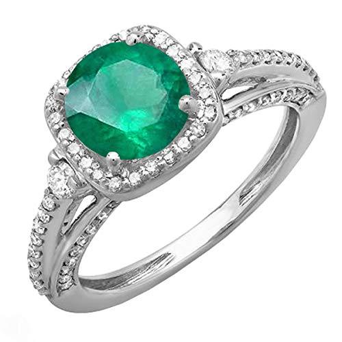 14K oro blanco redondo verde esmeralda blanco y diamante señoras anillo de compromiso de Halo novia