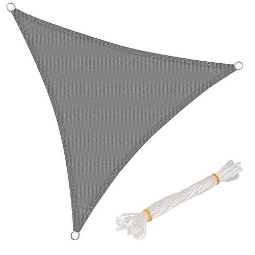 WOLTU Sonnensegel Dreieck 5x5x5m Grau atmungsaktiv Sonnenschutz HDPE Windschutz mit UV Schutz für Garten Terrasse Camping