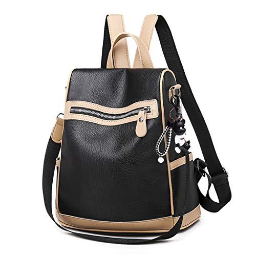 BUKESIYI Damen Tasche Rucksack Handtasche Frauen backpack Klein Anti Diebstahl Schulrucksack Laptop Weekender PU Leder CCDE78154 Schwarz