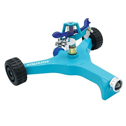 Aqua Joe AJ-IS10WB Indestructible Series Metal Impulse Sprinkler w/Wheeled 10-Inch Base