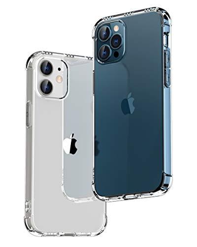 【ONES】 iPhone 12 / 12 Pro 用ケース 高透明 耐衝撃 エアバッグ 超軍用規格 『MagSafe、Qi充電、半密閉音室』〔滑り止め、すり傷防止、柔軟〕〔美しい、光沢感、軽·薄〕 衝撃吸収 HQ·TPU クリア カバー (6.1インチ)