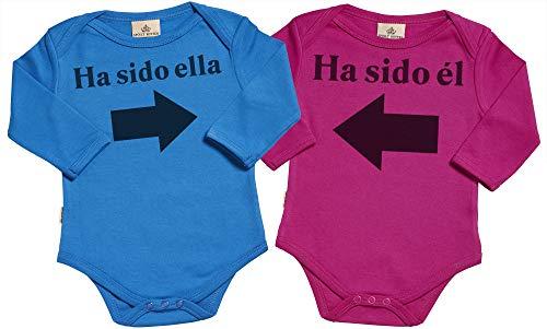 Spoilt Rotten SR - Estuche de presentación - Ha Sido él & Ha Sido Ella - Conjunto Gemelo - Body para bebé niño - Body para bebé niña - Conjunto Regalo del bebé - 0-6 Meses Azul & Rosa