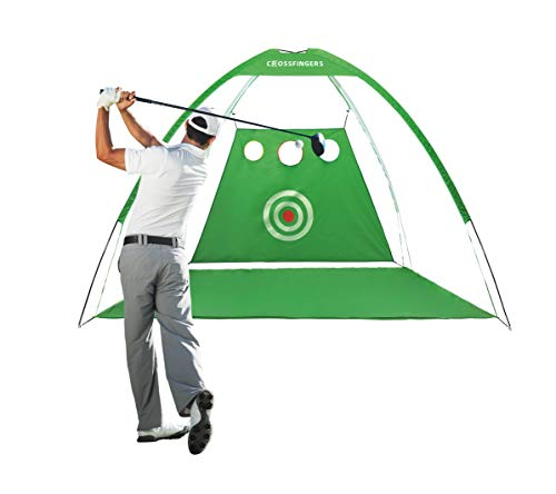 CROSSFINGERS Golf Hitting Net with Target and Chipping Holes, Golf Driving Nets for Backyard/Outdoor/Indoor Chipping/Driving/Hitting Training Aids