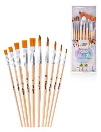BON&BENE Schulpinsel Set mit Borsten- und Haarpinsel I Wasserfarben Pinselset für Schule und Hobbykünstler I Tuschpinsel, Bastelpinsel, Malpinsel