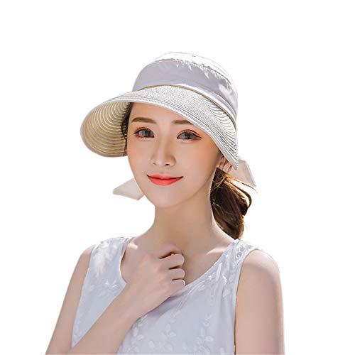 LTH-GD Sombrero de invierno para mujer con visera ajustable, diseño de magnolia y flores, protección UV, color beige, talla libre