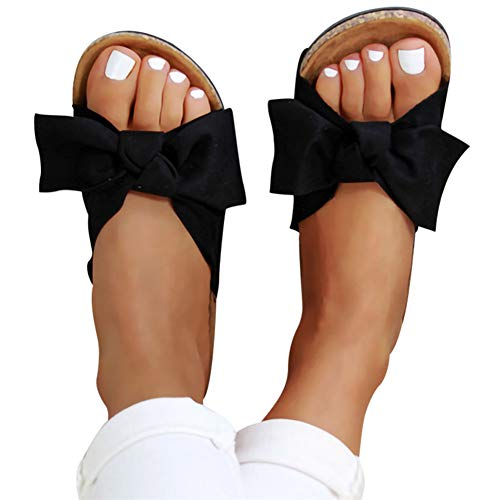 Quealent Sandals for Women Wide Width Womens Bow Slip-on Platform Sandals Flip Flops Summer Slippers Flat Bottom with Bowknot Casual Open Toe Shoes