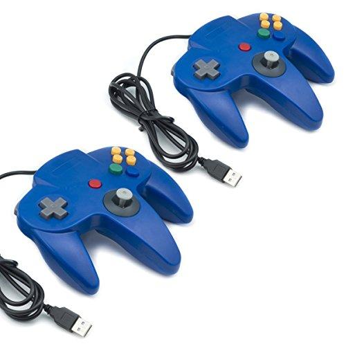 QUMOX 2X Nintendo Mandos de Juegos Clásicos 64 N64 USB para USB A PC/Mac, Azul