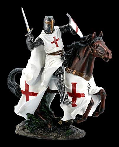 Chevalier Du Temple Figurine sur Cheval dans Gallop Templier, Figurine de Déco, Décoder L'Article, Mittelalter-Figur, Hauteur 25 CM
