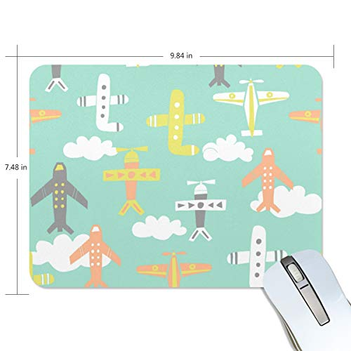 DEZIRO Leuke Vliegtuigen Gaming Muis Kaart Pad met Nonslip Base Dik, Comfy, Waterdichte & Opvouwbare Mat voor Desktop, Laptop