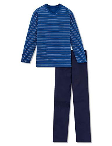 Schiesser Herren Lang Zweiteiliger Schlafanzug, Blau (Blue Royal), 54