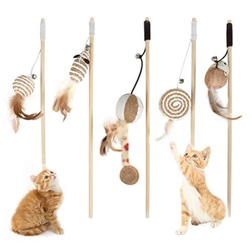 OFNMY 5pcs Juguetes para Gatos con Plumas Interactivo Varita de Vara Caña de Juegos