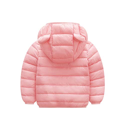 Coat H.Eternal Baby Boys Girls Jacket Romper Winter Warm Jacket Hooded Windproof Sweater Down Cardigan Long Sleeve Cotton (18-24 Months, Pink)