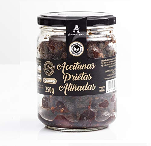 Aceitunas Prietas negras deshidratadas Katamala española 100% natural ideal para aperitivos veganos aceituna aliñada rica en fibra