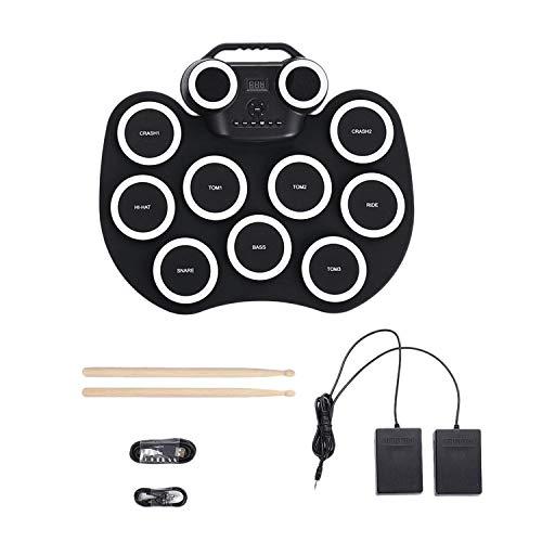 BOINN Tambor ElectróNico Plegable PráCtica Drum Pad Kit de BateríA Recargable Altavoces Integrados Pedales de Pie Baquetas para Principiantes