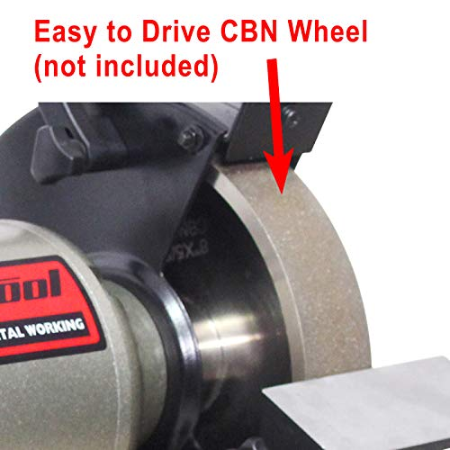 BUCKTOOL 8Inch Low-Speed Bench Grinder fit CBN Wheel Professional Wobble-free Wheel Grinder, Powerful Shop Table Tool, TDS-200C4HL