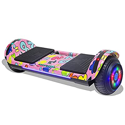 Longtime Kids 2020 Edition Hoverboard Self Balancing Scooter with LED Lights Flashing Wheels - UL Certified (Graffiti Pink)